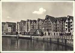 Ak Kaliningrad Königsberg Ostpreußen, Speicherviertel, Flusspartie, Fachwerkhaus