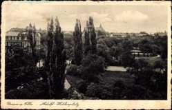 Ansichtskarte / Postkarte Riesa an der Elbe Sachsen, Blick auf Parkanlage mit Umgebung