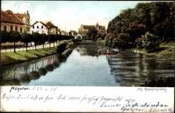 Postcard Münster in Westfalen, Partie am Kanonengraben, Ruderboot, Fluss, Weg