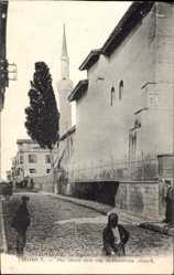 Postcard Saloniki Griechenland, The street and the St. Dimitrius church