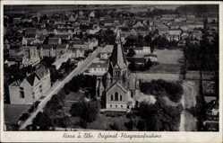 Postcard Riesa an der Elbe Sachsen, Fliegeraufnahme, Kirche, Umgebung