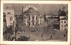 Postcard Warna Bulgarien, Theater, Platz, Passanten, Autos