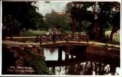 Postcard Skegness East Midlands, Rustic Bridge, Tower Gardens