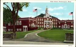 Postcard Newburyport Massachusetts USA, High School, Hochschule
