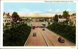 Postcard Newburyport Massachusetts USA, Turnpike, Straßen, Brücke