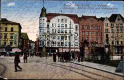 Postcard Lwów Lemberg Ukraine, Kalicki Platz und Walowagasse, Passanten, Kutsche