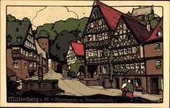 Steindruck Ak Miltenberg in Unterfranken, Marktplatz mit Schnatterloch