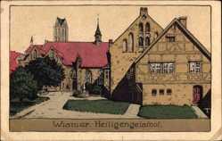 Steindruck Ak Wismar in Mecklenburg Vorpommern, Der Heiligengeisthof