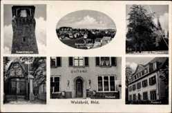 Postcard Waldbröl im Oberbergischen Kreis, Aussichtsturm, Kirche, Postamt, Waldesruh