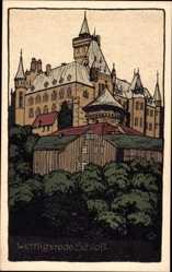 Steindruck Ak Wernigerode, Blick auf das Schloss
