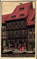 Steindruck Ak Wernigerode, Blick auf das Alte Haus
