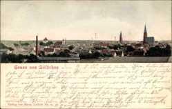 Ak Sulechów Züllichau Ostbrandenburg, Blick auf den Ort, Kirche, Schornsteine