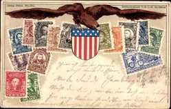 Briefmarken Litho USA, Eagle, Stars and Stripes, 2 Cents