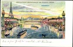 Litho Paris, Exposition Universelle 1900, Illuminations sur la Seine