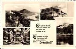 Postcard Donaustauf, Blick auf die Walhalla auf dem Bräuberg