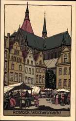 Steindruck Ak Rostock, Blick auf den Wochenmarkt