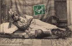 Ak Algerien, Odalisque couchee, liegende Frau, Maghreb, Collection Idéale P.S.