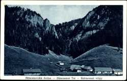 Postcard Stracaener Tal Slowakei, Teilansicht der Ortschaft mit Umgebung