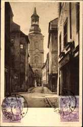 Ak Poznań Posen, Ulica klasztornai, Straßenpartie mit Blick auf Kirche