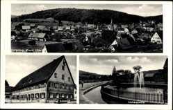 Postcard Urspring Lonsee, Gasthaus zum Hirsch, Familie Schmid, Lonequelle