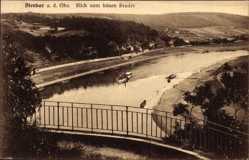 Ansichtskarte / Postkarte Diesbar Seußlitz an der Elbe, Blick vom bösen Bruder, Elbdampfer