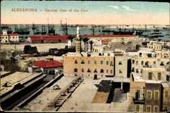Postcard Alexandria Ägypten, General view of the Port, Minarett, Blick auf den Hafen