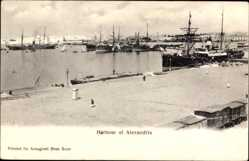 Postcard Alexandria Ägypten, View of the Harbour, Dampfschiff, Hafenpartie