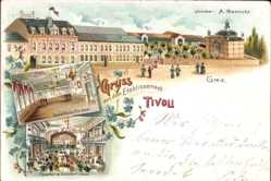 Litho Greiz in Thüringen, Etablissement Tivoli, A. Mennicke, Theater, Saal