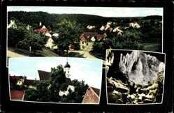 Postcard Hürben Giengen, Charlottenhöhle, Ortspanorama, Kirche