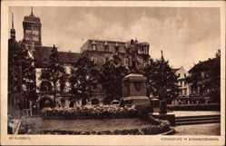 Postcard Mönchengladbach in Nordrhein Westfalen, Königsplatz m. Bismarckdenkmal