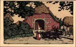 Steindruck Ak Schleswig Holstein, Bauernhäuser, Scheune