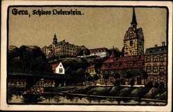 Steindruck Ak Gera in Thüringen, Flusspartie, Brücke, Schloss Osterstein