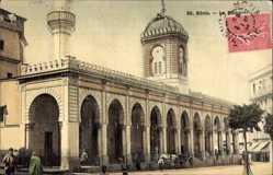 Postcard Bone Algerien, La Mosquee, Straßenpartie mit Blick auf die Moschee, Minarett