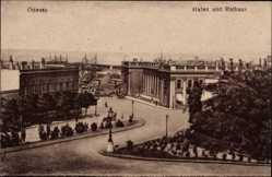 Postcard Odessa Ukraine, Blick in den Hafen mit dem Rathaus