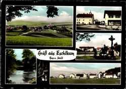 Postcard Eschlkam Oberpfalz Bayerischer Wald, Panorama, Straße, Häuser