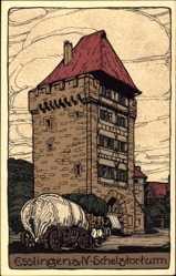 Steindruck Ak Esslingen am Neckar Baden Württemberg, Blick auf den Schelztorturm