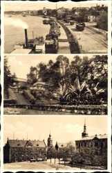 Postcard Riesa an der Elbe Sachsen, Landungsplatz, Stadtpark, Hindenburgplatz