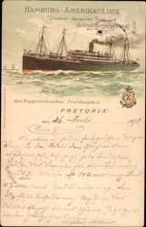 Litho Dampfschiff Pretoria, HAPAG, Doppelschraubenpostdampfer