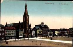 Postcard Saarlouis im Saarland, Blick auf den großen Markt, Kirche, Häuser