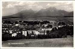 Postcard Kesmark Kezmarok Slowakei, Blick auf den Ort, Gebirge, Felder