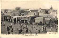 Postcard Tunis Tunesien, Place Bab Souika, Platz, Tunesier, Gebäude