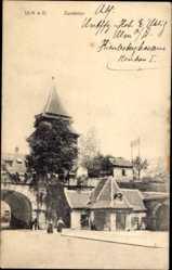 Postcard Ulm an der Donau Baden Württemberg, Partie am Zundeltor, Passanten