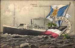 Postcard Dampfer König Friedrich August, HAPAG, Fahnen