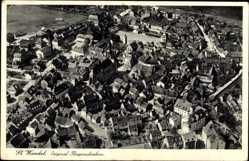 Postcard St. Wendel in Saarland, Blick auf den Ort, Kirche, Fliegeraufnahme
