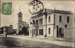 Postcard Enfidaville Tunesien, Le Grand Hotel, Straßenpartie, Kirche