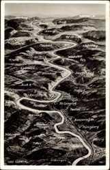 Landkarten Ak Mettlach im Kreis Merzig Wadern Saarland, Saartal, Ponten, Merzig