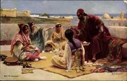 Künstler Ak Leinweber, R., Tunesien, Sur la terrasse, Frauen, Araber
