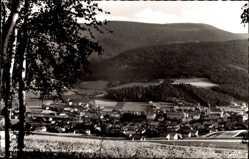 Postcard Lam im Bayerischen Wald Oberpfalz, Totalansicht der Ortschaft mit Schwarzeck