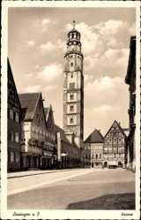 Postcard Lauingen an der Donau Schwäbische Alb, Straßenpartie, Turm