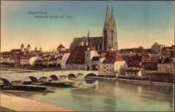 Postcard Regensburg an der Donau Oberpfalz, Steinerne Brücke mit Dom